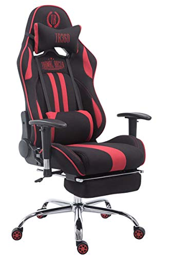 Silla Racing XL Limit En Tela I Silla Gaming con Base De Metal I Silla De Ordenador Altura Regulable I Silla Gamer Giratoria I Color:, Color:Negro/Rojo, Reposapiés:con reposapiés