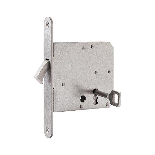 NEMEF 9751620011 Schiebetürschloss | mit Bogenriegel vernickelt | Dornmaß: 65 mm | BB | inklusiv Schließblech