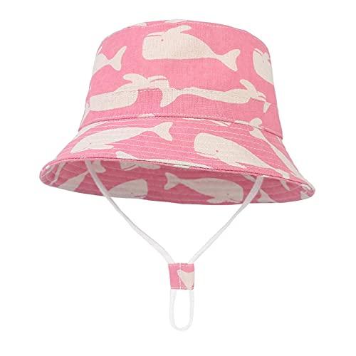 Sombreros de verano para bebé, sombrero de playa, ala ancha, de algodón, con estampado de delfín, para niña, unisex, para exteriores, 1 # rosa, 6 – 12 meses)