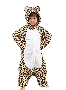 TOKYO-T Animal Costumes for Kids Leopard Halloween Kigurumi Onesie Pajama Girls/Boys Cosplay  7-8  Brown