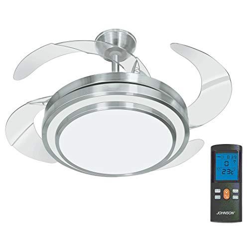 Johnson - Ventilador de techo de 4 aspas con luz LED y mando a distancia