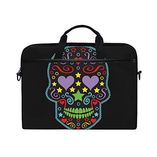 EZIOLY Sugar Skull Laptop Shoulder Messenger Bag Case Sleeve for 13 Inch to 14 inch Laptop