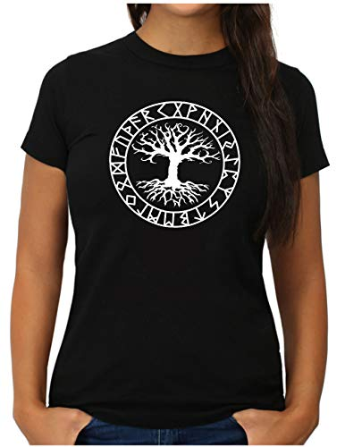 OM3® Yggdrasil-Tree-of-Life T-Shirt | Damen | Vikings Wikinger Symbol Nordic Warrior | L, Schwarz