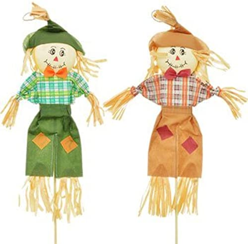 4 Count Autumn Fall Thanksgiving Scarecrow Stakes 28 in. Harvest Pumpkin Leaves Decorations by Fall