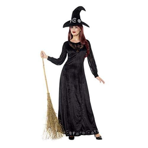 SMIFFYS Costume deluxe strega, Nero, con vestito e cappello