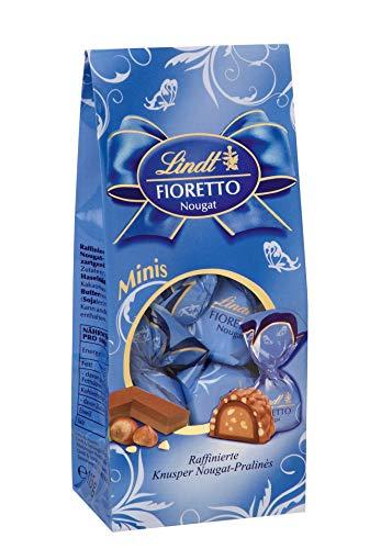 Lindt Fioretto Minis Beutel, Nougat,Raffinierte Pralinés mit Nougat-Füllung und zartgerösteten Haselnussstückchen umhüllt von knusprigem Crisp & feiner Lindt Alpenmilch-Schokolade, 4er Pack(4 x 115g)