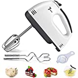Electric Hand Mixer, 7 Speeds Turbo Handheld Mixer Egg Whisk with Egg Separator, 2 Beaters & 2 Dough Hooks, Kitchen Egg Blender for Home Easy Whipping, Mixing Cookies, Brownies, Cakes, Dough Batters