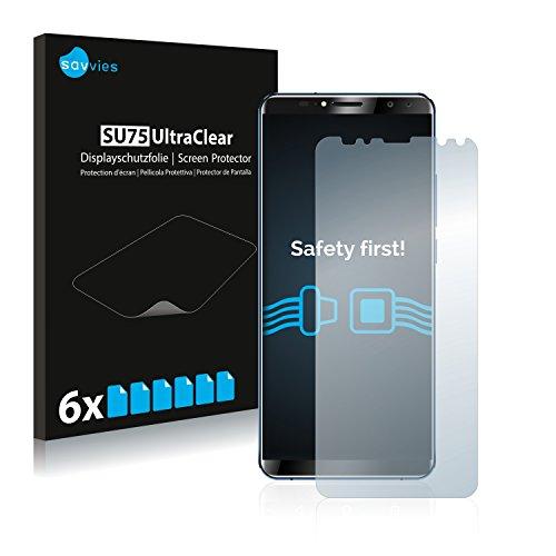 Savvies 6X Schutzfolie kompatibel mit Oukitel K6 Bildschirmschutz-Folie Ultra-transparent