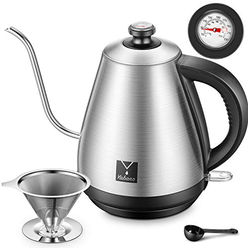 Electric Gooseneck Pour Over Coffee Kettle with Coffee Dripper and Integrated Thermometer for for Drip Coffee and Tea, Stainless Steel Coffee Teapots Kettle, Auto Shut-Off, 1000W, by Yabano