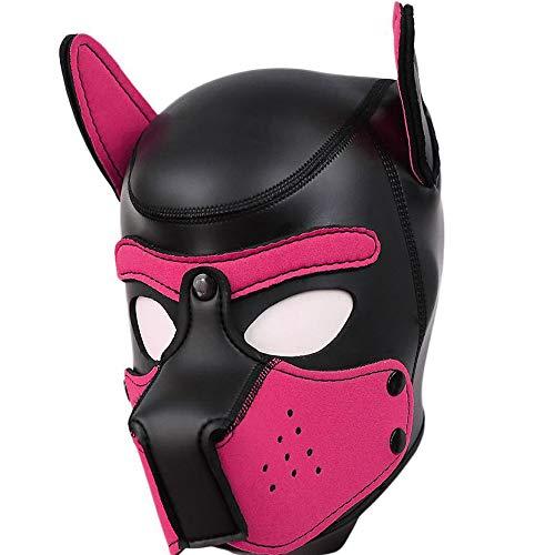 AmaMary Hundemaske,Weiche Latex Petplay Hundemaske mit Ohren Welpenmaske Hunde Masken für Cosplay Party Maskerade (heißes Rosa)