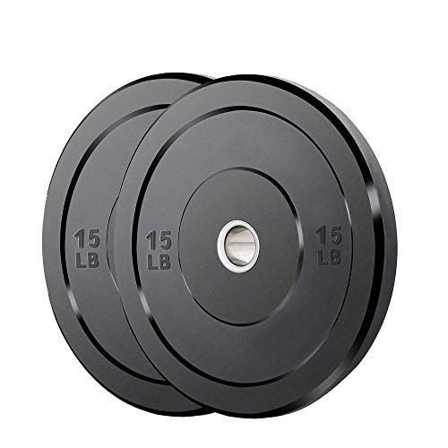 Catrimown Bumper Plates, Olympic Weight Plates with 2 Inch Steel Insert for Strength Training, Rubber Bumper Plate Weights 15 lbs Pair
