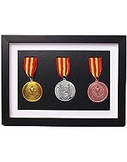Massief houten medaille doos,Houten vitrinekast voor medailles en insignes van eer,Marathon medaille opbergdoos,Oorlog militaire drie medaille in zwart frame,3D Deep Box Frame om oorlog/militaire/sportmedailles weer te geven