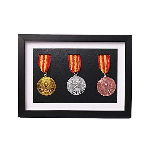 Holzvitrine für Medaillen und Ehrenabzeichen , Marathon-Medaillen-Aufbewahrungsbox, Kriegsmilitär-Drei-Medaille im schwarzen Rahmen, 3D-Deep-Box- Rahmen zur Anzeige von Kriegs-Militär- Sportmedaillen