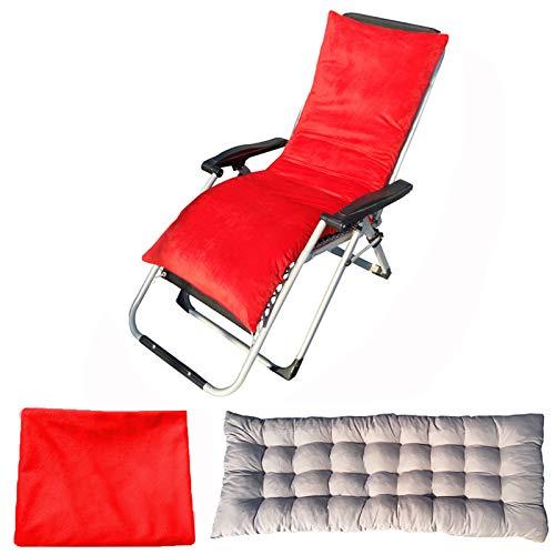 YuYiY Cojines para muebles de jardín con funda de terciopelo extraíble y lavable, cojines para tumbonas, cojines de asiento al aire libre, para sofá o silla reclinable (rojo, 48 x 175 x 8 cm)