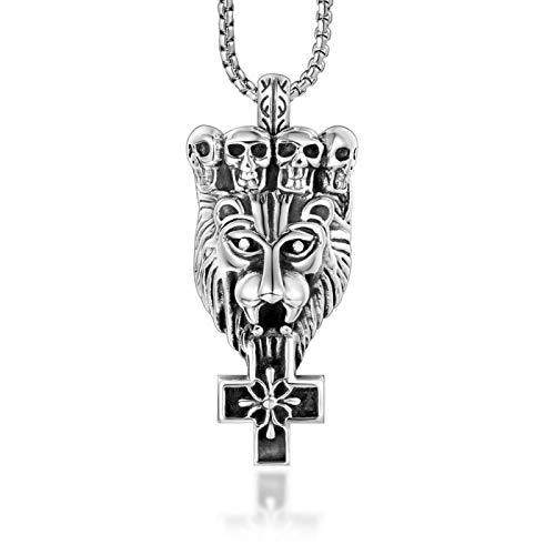 Moda hombres dominantes joyería titanio acero cráneo corona león cabeza collar colgante cruz flor colgante