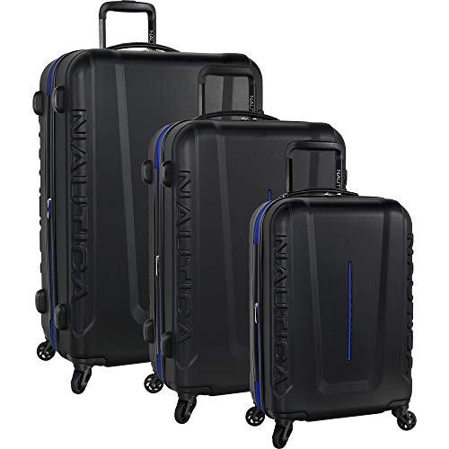 Nautica 3 Piece Hardside 4-Wheeled Luggage Set, Black Cobalt