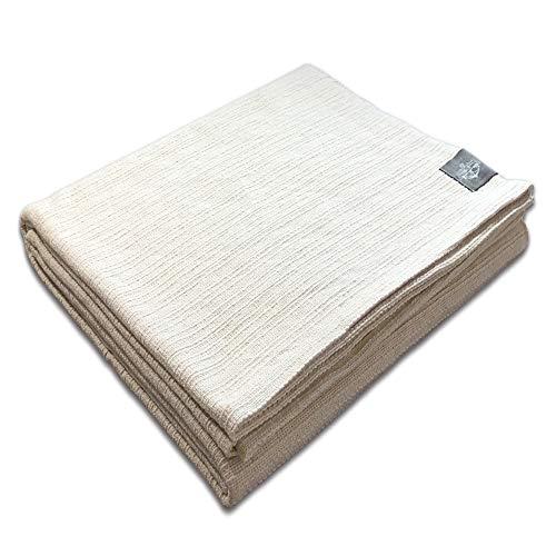 Craft Story Manta 'Yara' I color natural de 100% algodón I colcha manta de sofá I manta I Bedspread I Plaid I Plaid I 170 x 220 cm