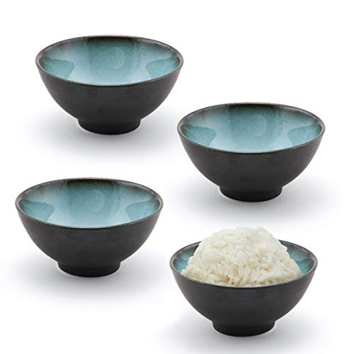 Happy Sales HSRSB-BLUGRY4, Japanese Style Ceramic Rice Bowls, Soup, Cereal, Dessert Bowls 4 pc, Grey Blue
