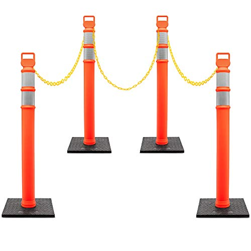 """Jumbl Delineator Kit   4 Pack of 48"""" Orange Post w/3"""" Reflective Collars & 10LB Weighted Base   Includes 3x 50Ft Chain Rope, 4-Carabiners & 656-Ft Caution Tape   UV & Impact Resistant   Traffic & More"""