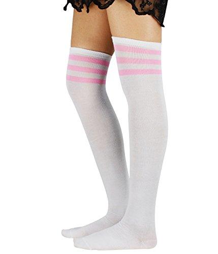 Durio Damen Baumwolle Dünn Über Knie-Lange Overknee Socken Sportsocken Kniestrümpfe Strümpf mit 3 Streifen Weiß und Pink Streifen One Size