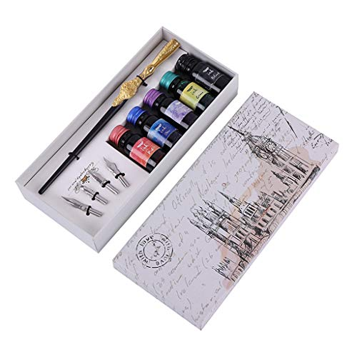 Dip Pen Ink Set,Carving English Calligraphy Dip Pen Fountain Writing Ink Nibs Set for Gift or...