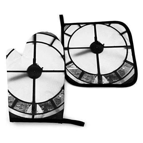 Reloj de fondo blanco y negro mitones de horno y soporte para ollas, forro de algodón suave con superficie antideslizante, guantes de cocina resistentes al calor para cocinar, hornear