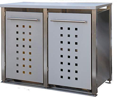 *Edelstahl Mülltonnenbox für 2 Tonnen 240L (MD22T). Mülltonnenhaus, Mülltonnenverkleidung*