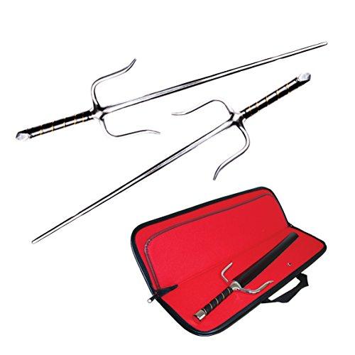 DEPICE Unisex– Erwachsene Sai-gabeln octagon (Paar) inkl. Tasche, silber, 54,50 cm