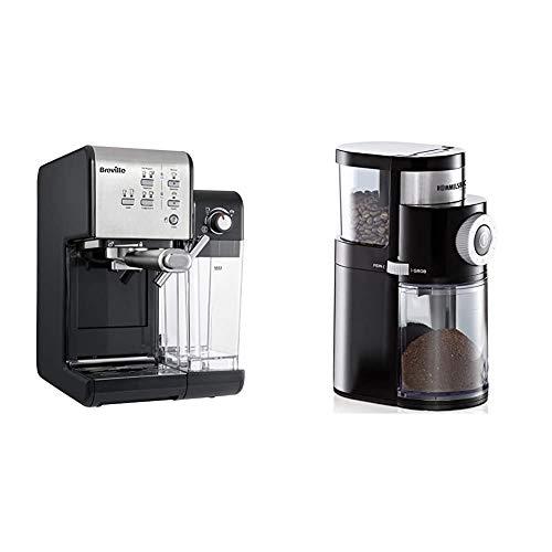 Breville PrimaLatte II Kaffee- und Espressomaschine | italienische Pumpe mit 19 Bar Schwarz/Silber & ROMMELSBACHER Kaffeemühle EKM 200, Füllmenge Bohnenbehälter 250 g, 110 Watt, schwarz