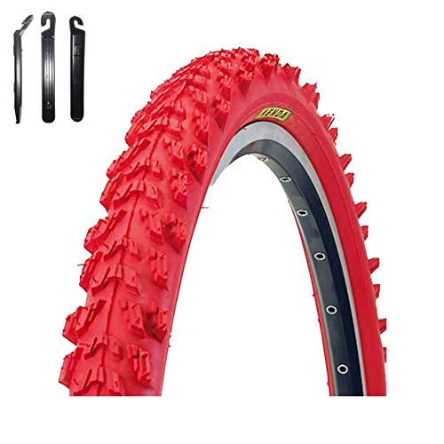maxxi4you Kenda MTB - Cubierta para neumáticos de bicicleta (26 x 1,95-50-559, incluye 3 desmontadores), color rojo