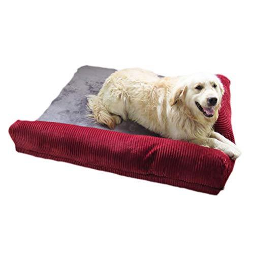 Ti-Fa Cama para Perro Ortopédica de Espuma viscoelástica Sofá Cama para Perro Forro Impermeable y Funda extraíble Lavable cómoda y Transpirable,Rojo,L:90 * 75 * 17cm