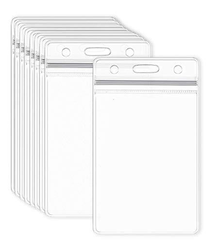Portatarjetas de identificación, 20 unidades, plástico transparente, impermeable, tamaño vertical