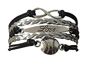 """Beautiful Baseball or Softball Charm Bracelet- Love Baseball BASEBALL BRACELET -Bracelet length is 6 Inches in length with 2 inch extender ADJUSTABLE - Easily Adjusts to Fit your Wrist 6"""" to 8"""" Adjustable Length Perfect Gift For Baseball Player, Base..."""
