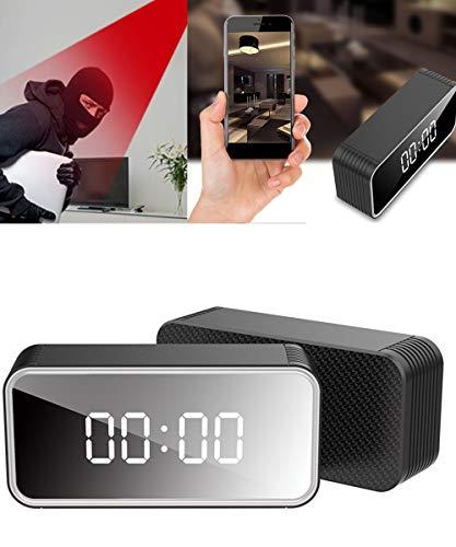 AAERP H13 Cámara Oculta Reloj Despertador Espejo Reloj de Pulsera, Cámara Espía Oculta WiFi 1080P HD Mini Videocámara Inalámbrico con Visión Nocturna ángulo Amplio