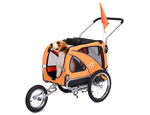 Leonpets 2 in 1 Hunde Haustier Fahrradanhänger/Jogger Model 10201 Orange NEU