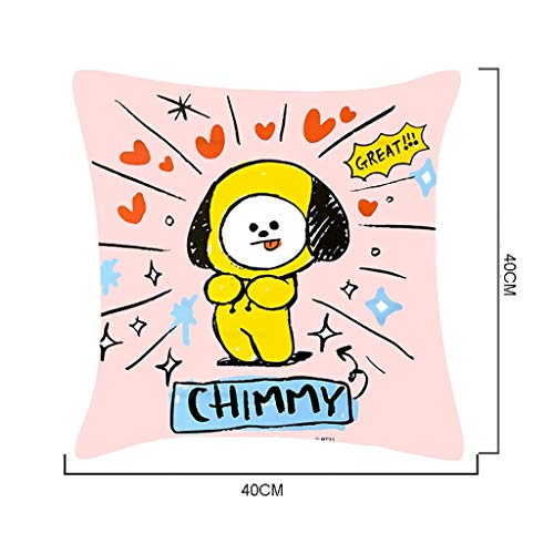 ZYFXZ BTS Velvet Cushion Covers 40X40CM Kpop Cute Cartoon Hand Drawn Pillowcase Sofa Throw Pillow Cushion Case,Best Gift For A.R.M.Y Best Gift for A.R.M.Y (Color : B)