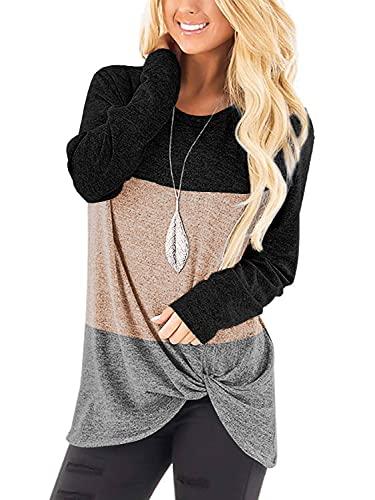Long Sleeve T Shirt Women Tunics Fall Leisure Sweaters Tops Black L