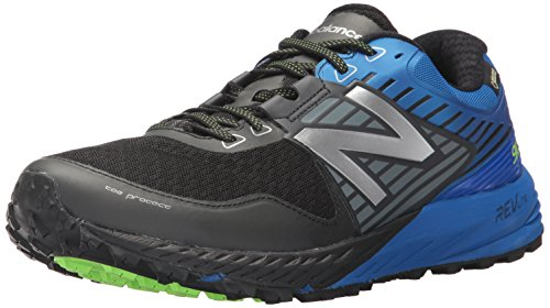 New Balance Men's 910 V4 Trail Running Shoe, Black/Vivid Cobalt, 14 D US