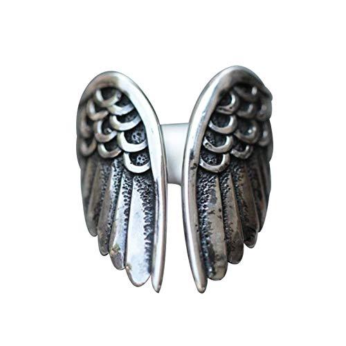 Raburt Anillo de plata con alas de ángel, estilo boho, joya apilable, retro, ajustable