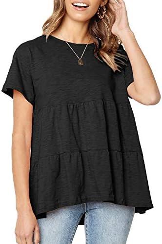 Women Short Sleeve Loose T Shirt Babydoll Peplum Tee Tops Casual Crewneck Blouse Shirts z Black product image