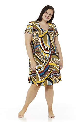 mabel intima Vestido Talla Grande Vestidos Verano Mujer Talla Grande Manga Corta con Pliegues Talla 58