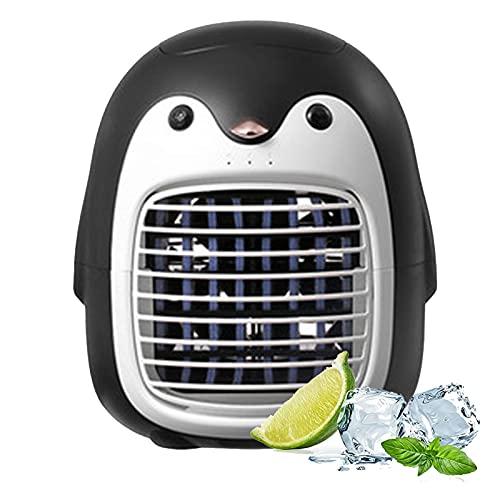 WSWD Ventilador de Escritorio de Ahorro de energía, pequeño pingüino Creativo Mini Air Acondicionador de Aire de Aire portátil Fan del Enfriador de Aire, humidificador de