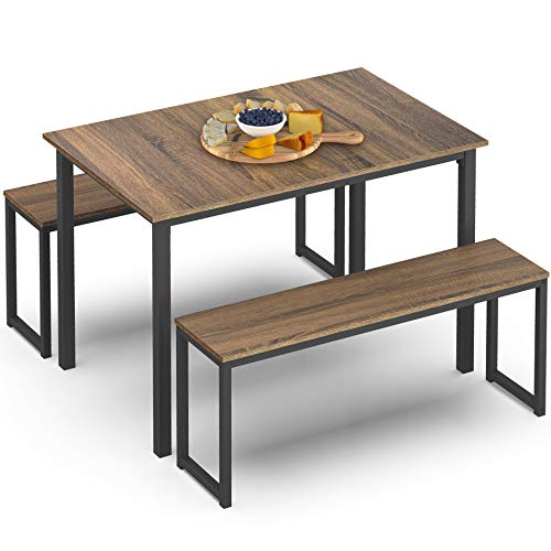 HOMOOI Dining Table Set with 2 Benches with Metal Frame for Dining Room Industrial Brown HDT111003WR