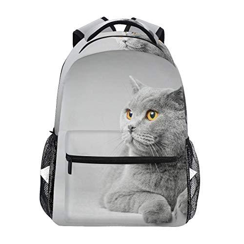 Mochila escolar gato acostado en mesa blanca estudiante mochila grande para niñas niños escuela primaria bolsa de hombro bolsa de libro