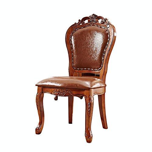 Europese Effen Hout Eetstoel Zachte Tas Retro Lederen Kunststoel Eettafel En Stoel Terug Amerikaanse Landelijke Eetstoel