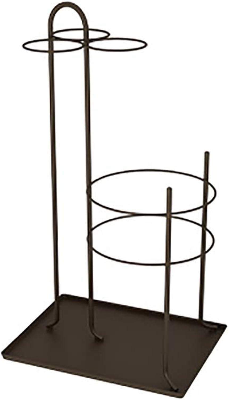Entryway Freestanding Black Metal Long Umbrella & Short Folding Umbrella Holder Stand Rack (color   Coffee)