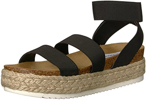 Steve Madden Women's Kimmie Wedge Sandal, Black, 8 M US