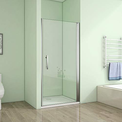 90x195cm Duschtür Duschabtrennung Drehtür für Nischen Dusche Duschwand NANO Echtglas (A1-90E V2+1B V2)
