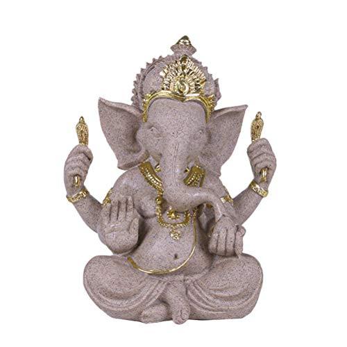 Yousiju Naturaleza Arenisca India Elefante Dios Estatuillas Indio Ganesha Figuras Hindú Fengshui Dios con Cabeza de Elefante Buda