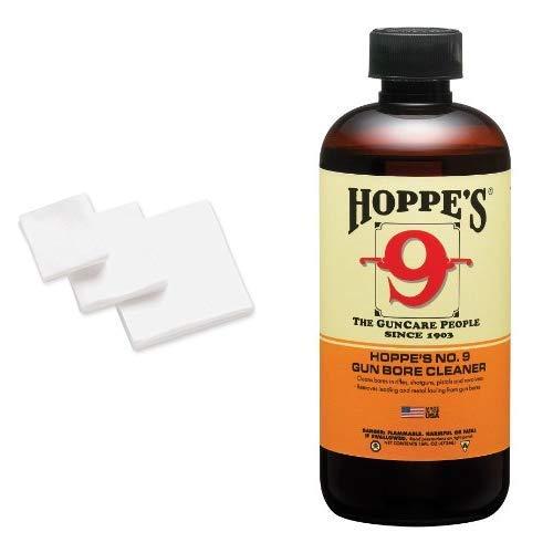 HOPPE'S No. 9 Gun Cleaning Patch.38-.45 Caliber/.410-20-Guage (500 Pack) No. 9 Gun Bore Cleaner, 16 oz. Bottle